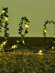 cheap -LED Leaf Shape Fairy String Lights 2.5M 30 LEDs Battery Operation Wedding Christmas Garden Room Home Decoration Lamp