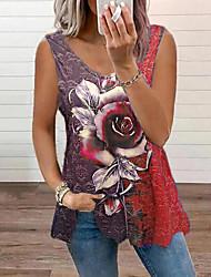 cheap -Women's Floral Theme Tank Top Vest Floral Color Block 3D Print U Neck Basic Streetwear Tops Cotton Blue Purple Green