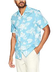 cheap -Men's Shirt Bird Coconut Tree Button-Down Short Sleeve Street Tops Casual Hawaiian Comfortable Blue White Light Blue