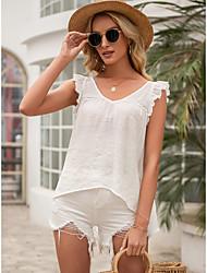 cheap -Women's Tank Top Vest Plain Ruffle Flowing tunic V Neck Basic Streetwear Tops Yellow Khaki White