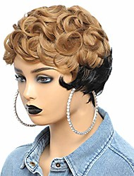 cheap -short wavy cut wig ombre color honey blonde pixie cut wigs for women synthetic hair short hairstyles cut natural wigs for black women machine made short pixie wig