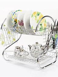 cheap -2 Tiers Kitchen Dish Cup Drying Rack Drainer Dryer Tray Cutlery Holder Organizer Furniture