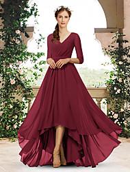 cheap -A-Line V Neck Sweep / Brush Train / Asymmetrical Chiffon Bridesmaid Dress with Pleats