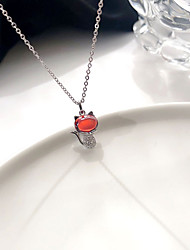 cheap -yongcheng s925 sterling silver diamond red cat necklace female wild light luxury fashion clavicle chain net red with jewelry trend