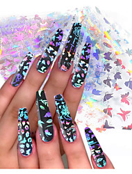 cheap -10 Sheets of Laser Butterfly Nail Foil Transfer Sticker Butterfly Nail Art Foil Sticker Holographic Color Butterfly Foil Decal Starry Sky Design Aluminum Foil Transfer Acrylic Nail Art