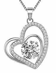 cheap -necklace heart pattern women's jewelry pendant angel chain pendant fashion necklaces accessories necklaces gift (silver c, one size)