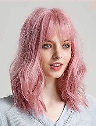 cheap -halloweencostumes rolisy pastel pink wavy wig with air bangs short bob wig 14 inch soft hair curly super natural for women and girls fiber synthetic wig cosplay wig theme party dance