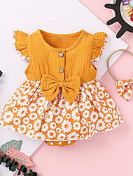 cheap -Baby Girls' Active Streetwear Floral Bow Print Sleeveless Romper Blue Yellow Blushing Pink