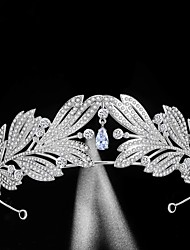 cheap -FORSEVEN Handmade Zircon Alloy Rhinestone Crown Silver Color Tiara Bride Wedding Headpeice Women Crystals Hair Jewelry JL