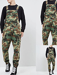 cheap -Men's Stylish Casual / Sporty Streetwear Comfort Breathable Overalls Rompers Cotton Daily Sports Pants Camouflage Full Length Zipper Pocket ArmyGreen