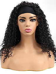 cheap -Long Synthetic Soft Kinky Curly Wig With Black Headband Curly Wig For America Women Heat Resistant Fiber Wig Wholesale