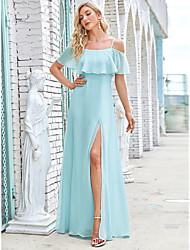 cheap -A-Line Spaghetti Strap / Off Shoulder Floor Length Chiffon Bridesmaid Dress with Tier