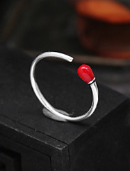 cheap -red agate match ring female s925 sterling silver opening index finger simple style ins fashion jump di student jewelry