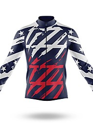 cheap -21Grams Men's Long Sleeve Cycling Jersey Spandex Polyester Blue American / USA Funny Bike Top Mountain Bike MTB Road Bike Cycling Quick Dry Moisture Wicking Breathable Sports Clothing Apparel