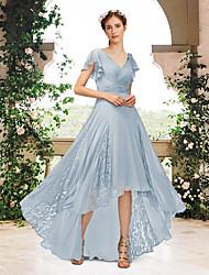 cheap -A-Line V Neck Floor Length Chiffon / Lace Bridesmaid Dress with Pleats