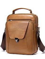 cheap -Men's Bags Nappa Leather Cowhide Crossbody Bag Zipper Daily Handbags Black Brown Coffee