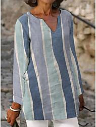 cheap -Women's Blouse Shirt Striped Long Sleeve V Neck Tops Gray