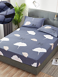 cheap -Ginkgo Leaf 1PC Soft Printed Fitted Sheet With Elastic Band Bed Sheet Cover (No Pillowcases)Full Queen King Size Dropshipping