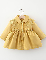 cheap -1pc Baby Girls' Jacket & Coat Casual Daily Daily Wear Lace Cotton Yellow Blushing Pink Beige Solid Color Ribbon bow / Kids / 1-4 Years