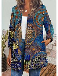 cheap -Women's Jacket Daily Autumn / Fall Winter Regular Coat Regular Fit Casual Jacket Long Sleeve Floral Print Blue Beige