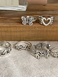cheap -Ring Vintage Style Silver Alloy Heart Butterfly Face Stylish Rustic / Lodge Ethnic 5pcs One Size / Women's