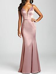 cheap -Mermaid / Trumpet V Neck / Spaghetti Strap Floor Length Satin Bridesmaid Dress with Pleats
