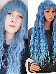 cheap -halloweencostumes women wig long wavy hair blue with air bangs synthetic fluffy curly wavy hair wigs high temperature resistant synthetic hair for girl heat friendly cosplay party wigs
