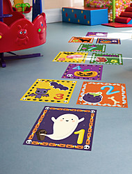 cheap -Children's Cartoon Pattern Hopscotch Ground Stickers Kindergarten Early Education Interactive Decoration Weird Halloween Jump Grid Ground Decoration Stickers