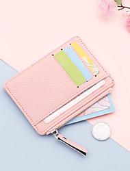 cheap -Women's ultra-thin credit pocket card holder coin purse zipper candy color wallet