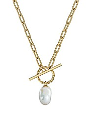 cheap -- chunky gold toggle clasp pearl pendant with paperclip chain necklace, stainless steel 14k gold plated toggle clasps charm long link chain choker necklaces jewelry for women