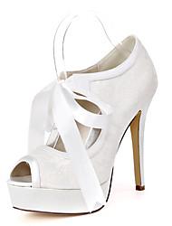 cheap -Women's Wedding Shoes Stiletto Heel Peep Toe Wedding Pumps Wedding Lace Ribbon Tie Floral Light Purple Pink Royal Blue