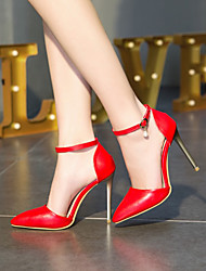 cheap -Women's Heels Pumps Pointed Toe Wedding Work PU Buckle Solid Colored Red Black