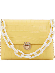 cheap -Women's Girls' Bags PU Leather Crossbody Bag Chain Embossed Fashion Daily Date Handbags Baguette Bag Chain Bag Yellow Almond Blushing Pink Green