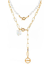 cheap -jewelry alloy letter love pendant pearl necklace fashionable multi-layer necklace necklace