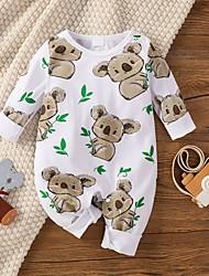 cheap -Baby Boys' Active Basic Animal Print Long Sleeve Romper White