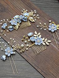 economico -copricapo da sposa senmei xianmei azzurro rosa fiore bianco pettine per capelli tornante accessori abito da sposa coreano
