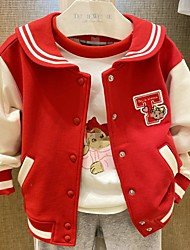 cheap -Kids Girls' Jacket & Coat Long Sleeve Red Patchwork Cotton School Daily Wear Casual Daily 4 years+