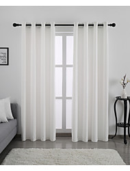 cheap -Window Curtain Window Treatments White 2 Panels Room Darkening Plain/Solid for Living Room Bedroom
