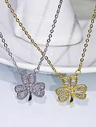 cheap -Women's Clear AAA Cubic Zirconia Pendant Necklace Floral Clover Dainty Simple Elegant Korean Brass Silver Gold 50 cm Necklace Jewelry 1pc For Wedding Party Evening Prom Beach Festival