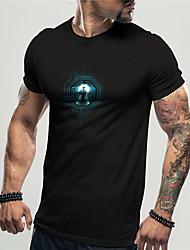 cheap -Men's Unisex Tee T shirt Shirt 3D Print Graphic Prints Technology Print Short Sleeve Daily Tops Casual Designer Big and Tall Black