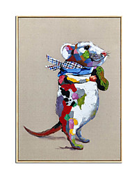 cheap -Nursery Oil Painting Handmade Hand Painted Wall Art Animal Mouse Abstract Ready to Hang Home Decoration Decor