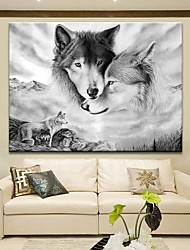 cheap -Wall Art Canvas Prints Painting Artwork Picture Black White Wolf Animal Home Decoration Décor Rolled Canvas No Frame Unframed Unstretched