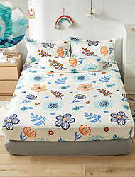 cheap -Pastoral notes 1PC Soft Printed Fitted Sheet With Elastic Band Bed Sheet Cover (No Pillowcases)Full Queen King Size Dropshipping