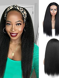 cheap -Roll over image to zoom inYEBO Headband Wigs 24 Inch Kinky Straight for Long Straight Headband Wigs for Women with Black Headband High Temperature Synthetic Hair Silky Straight Hair Wigsno colored he