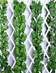 cheap -12pcs Ivy Green Fake Leaves Garland Plant Vine Foliage Home Decor Plastic Rattan String Wall Decor Artificial Plants