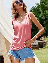 cheap -Women's Tank Top Vest Plain V Neck Basic Streetwear Tops Blushing Pink Navy Blue Light Blue