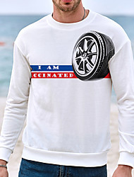 cheap -Men's Unisex Sweatshirt Graphic Prints Tires Casual Daily Holiday Hot Stamping Casual Designer Hoodies Sweatshirts  Long Sleeve White