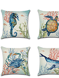 cheap -Ocean Double Side Cushion Cover 1PC Soft Decorative Square Throw Pillow Cover Cushion Case Pillowcase for Bedroom Livingroom Superior Quality Machine Washable Outdoor Cushion for Sofa Couch Bed Chair
