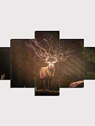 cheap -Christmas 5 Panels Wall Art Canvas Prints Painting Artwork Picture Forest Elk Deer Animal Home Decoration Décor Rolled Canvas No Frame Unframed Unstretched