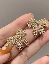 cheap -korean temperament bow earrings female pearl small earrings exquisite super fairy personality simple fashion all-match earrings women